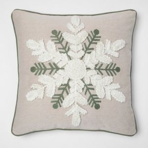 Threshold 18x18 Toss Pillow Natural Snowflake